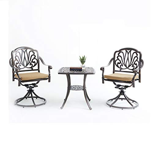 Henf 3 Piece Bistro Set, Outdoor Cast Aluminum Patio Furniture Round Table and 2 Swivel Chairs with Cushion for Garden Backyard Bistro Furniture Set