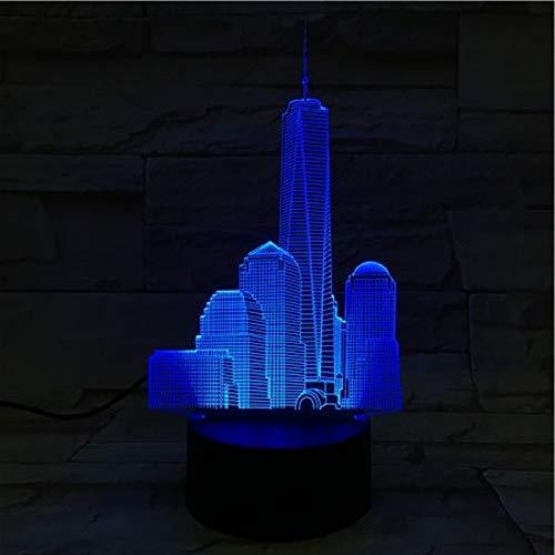 Veilleuse World Trade Center Usb 3D Led Lampe Décoration RGB Enfants Cadeau De Bébé Bâtiments Célèbres Table Lampe De Chevet Néon