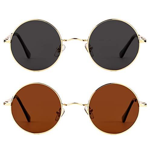 John Lennon Sunglasses - Polarized Round Sunglasses for Men Women Small Circle Glasses 2 Pack (Gold/Grey+Gold/Brown)