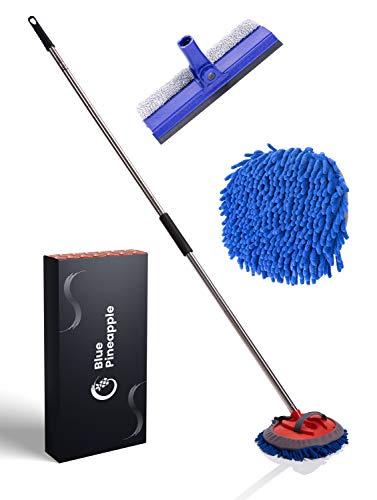 BLUE PINEAPPLE® Autowaschbürste mit Teleskopstiel - inkl. Fensterabzieher/Fensterputzer | Waschbürste Auto | Extrem Schonende Profi Reinigung von KFZ/Wohnwagen/LKW