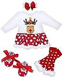 Camlinbo 4Pcs Baby Girl New Year Eve Tutu Dress Outfit Infant Newborn Long Sleeve Romper Headband Leg Warmer Shoes 0-14M