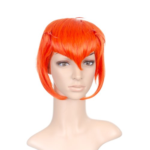 Bright Orange Styled courte Length Anime Cosplay Costume perruque with longue Side Bangs