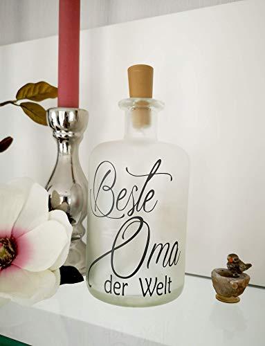 AScreativ Dekoflasche mit Beleuchtung - Beste Oma LED Leuchte Leuchtflasche Bottlelight Lichterkette Geschenk Flaschenlicht Homedeco modern