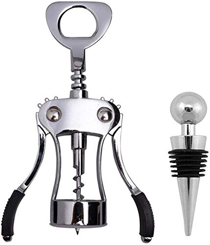 Ilyever Upraded 2 in 1 Wing Corkscrew with One Pack Wine Bottle Stopper,Multifunctional Corkscrew Wine Cork Opener Bottler Opener Remover for Home, Kitchen,Restaurant,Party and as Gift,Silver