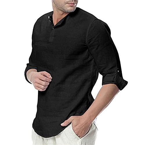 2021 Camisa Hombre otoño Algodón y lino Manga Larga Color sólido camiseta Moda Casual Suelto T-shirt Blusas camisas Camiseta Cuello en v suave básica Primavera Verano Cómodo camiseta Top