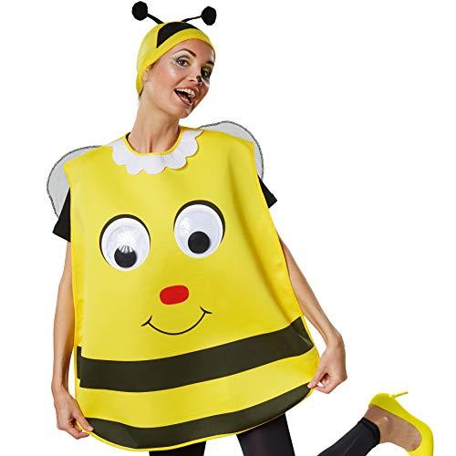 dressforfun 302194 - Unisex Kostüm Biene, Poncho in Einheitsgröße, Mütze in schwarz-gelb mit Fühlern