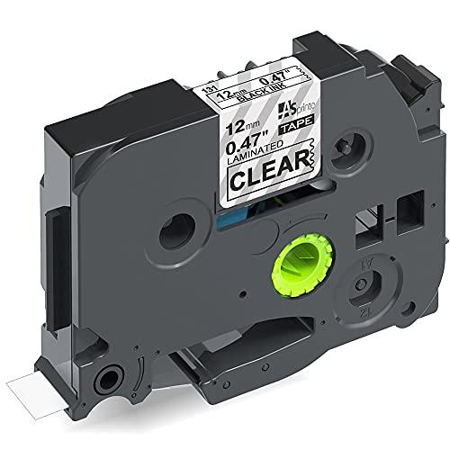 1個 12mm 透明地黒文字 ブラザーBrotherと互換性のある ピータッチP-Touch用 TZeテープ Pタッチ ラミネートテープ TZe-131 (TZe131) 8M ASprinte