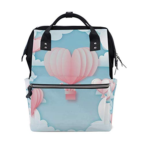 Rugzak wit wolk roze hart Hot lucht ballon grote luier tas Reizen Daypack