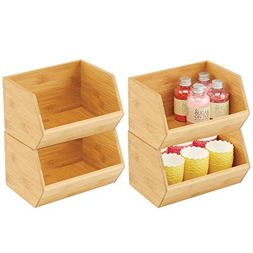 mDesign Gaveta apilable de madera – Caja organizadora multiusos para armarios de cocina, estanterías y superficies – Organizador de cocina abierto de bambú sostenible – Juego de 4 – color natural