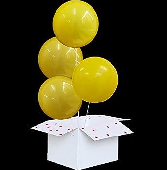 Eanjia 18  Bubble Balloon 4pcs Wrinkle Free Sphere Balloons for Birthday Wedding Party Decor Ball Shape Anti-Oxidation Reusable Durable Helium Non-Latex Bobo Balloons  Yellow 18