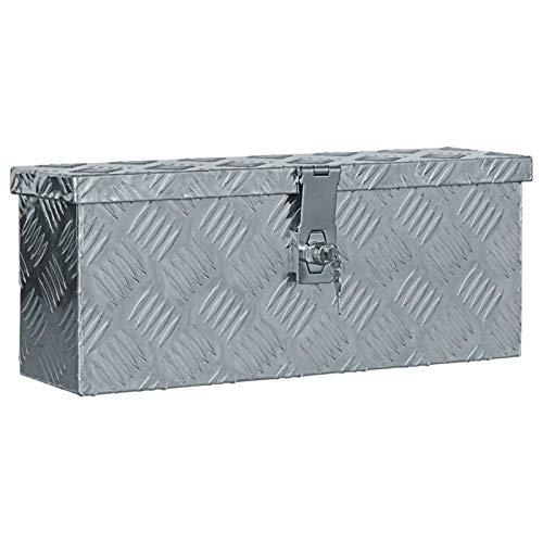 Lasamot Caja de Aluminio Grande Almacenaje Multiusos Caja para Herramientas Grande Almacenaje Box 48,5x14x20 cm Plateada