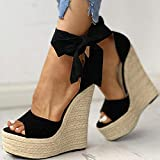 DQS Marca 2020, Plataforma Sexy, cuñas, Zapatos de Tacones Altos, Sandalias para Mujer, Zapatos de Fiesta de Verano de Paja, Zapatos envolventes para Mujer, Sandalias para Mujer