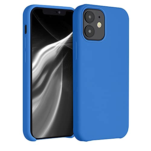 kwmobile Custodia Compatibile con Apple iPhone 12 Mini - Cover in Silicone TPU - Back Case per Smartphone - Protezione Gommata Azzurro Acceso