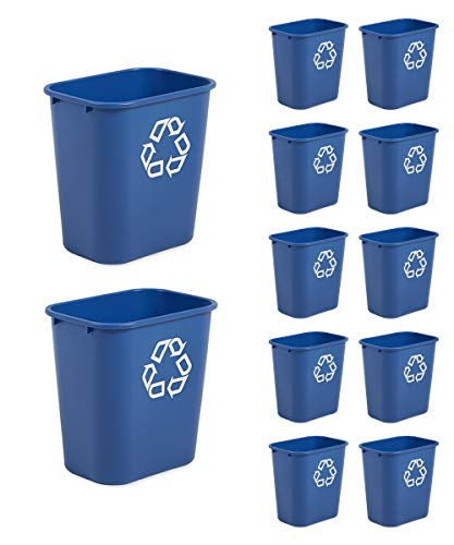 Rubbermaid Commercial Products FG295673BLUE Plastic Resin Deskside Recycling Can 7 Gallon/28 Quart Blue Recycling Symbol Pack of 12