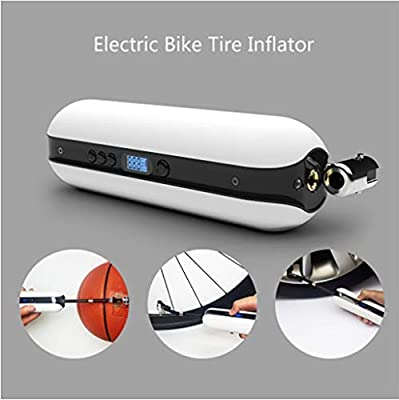 Flurries ???? 150PSI Electric Bike Tire Inflator - Smart Air Pressure Pump - Mini Air Compressor - Sports Inflation Device for Car Cicycle Basketball Balloon - USB Rechargeable LCD Display (White)