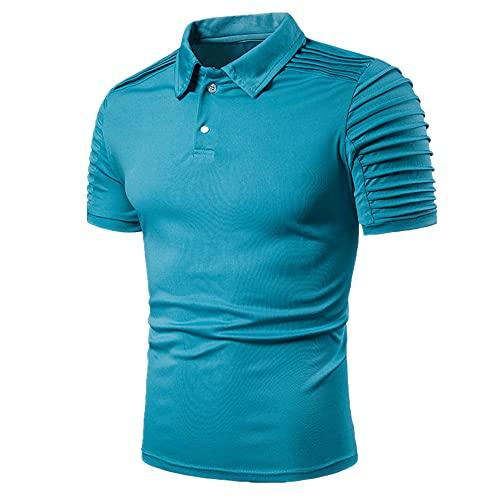 Estilo De Verano Slim Fit Simple Color Sólido Manga Corta Camisa Solapa Masculina Tops Camiseta