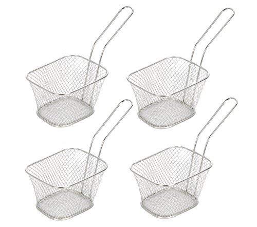 Mini Frittierkorb zum Servieren von Pommes, Schrimps, Tapas usw. - Servierkorb der besonderen Art - Pommeskorb (4 Stück)