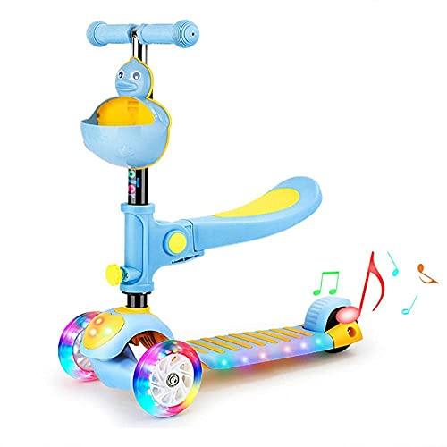 LZZB Scooter para niños, Scooter Plegable para Adultos, Scooter Ajustable, Adecuado para Hombres y Mujeres de 5 a 25 años