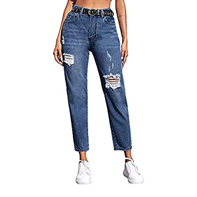 Genleck Womens Ripped Holes Distressed Jeans Mi...
