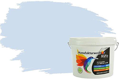 RyFo Colors Bunte Wandfarbe Manufakturweiß Wolkenblau 3l - weitere Blau Farbtöne und Größen erhältlich, Deckkraft Klasse 1, Nassabrieb Klasse 1