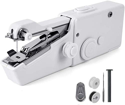 Mini Handy Cordless Portable Sewing Machine Quick Repairing Suitable for Denim Curtains Leather DIY 18 PCS White CHARMINER Handheld Sewing Machine