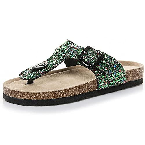 COQUI Zapatillas de Verano de Mujer,Nuevas Lentejuelas Multicolor PVC Corkship Slippers Beach Shoes-Gemstone Green_37