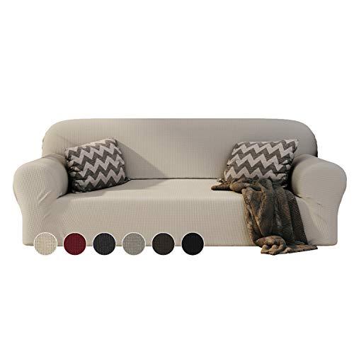 Dreamzie - Sofabezug 3 Sitzer Elastische - Beige - Oeko-TEX® - Sofa Überzug Dehnbarer aus Recycelter Baumwolle - Made in Europe
