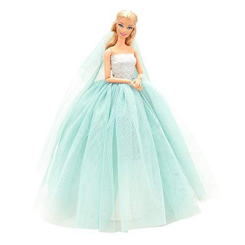 Miunana Abendkleid Prinzessin Kleidung Dress Kleider mit Brautschleier für 11,5 Zoll Mädchen Puppen Weihnachten Geschenke Xmas