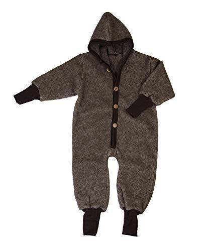 Cosilana Baby Kinder Fleece Overall mit Bündchen am Armen und Füßen, 60% Wolle (kbT), 40% Baumwolle (KBA) (74-80, Braun-Melange)