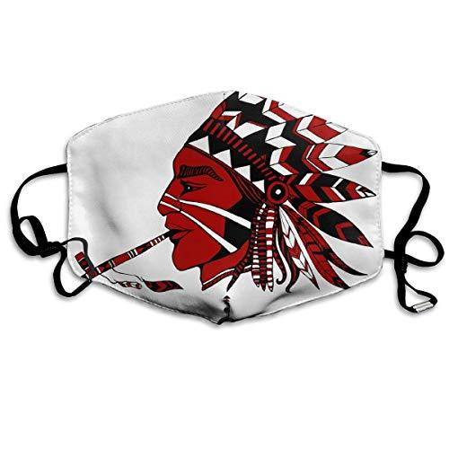 Indianer im ethnischen Kostüm Eine Pfeife des Friedens Mundschutz Gesichtsschutz Baumwolle Winddicht Anti Wiederverwendbar Komfortable Atmungsaktive Sturmhaube