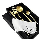 heimzeit Juego de Cubiertos de Acero Inoxidable 18/10 Color: Oro - Cubertería Elegante para 1 Persona, 4 Piezas (Cuchillo, Tenedor, Cuchara, cucharilla) - Apto para lavavajillas