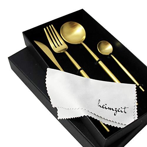 heimzeit Bestekset van hoogwaardig edelstaal 18/10 - Kleur: Goud - Stijlvol ontwerp - 1 persoons - 4-delig (Mes, vork, eetlepel, theelepel) - Servies is vaatwasmachinebestendigd