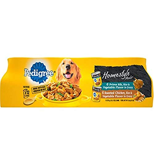 PEDIGREE Homestyle Meals Prime Rib Flavor and Hearty Chicken Flavor Multipack Pack of 12