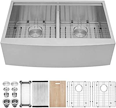 Farmhouse Sink 33 - Kichae 33 Inch Stainless Steel 18 Gauge Low Divided Double Bowl 50/50 Apron Front Workstation Farm Kitchen Sink