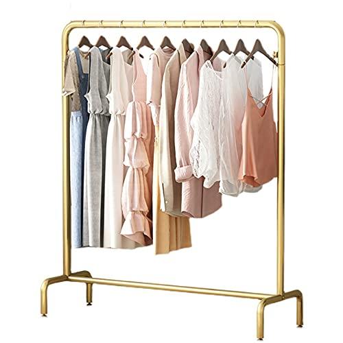Perchas resistentes, estantes de exhibición de ropa de hierro forjado, estantes de exhibición simples del piso al techo, estantes abiertos de las tiendas de ropa para niños/dorado / 150×40×130