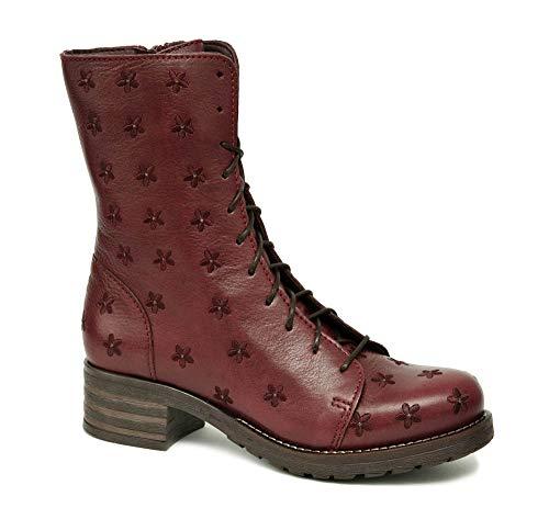 Brako Stiefel Boots 8432 Planet Burdeos rot Military Leder Blumen (43 EU)