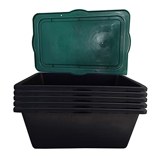 5 STK. 90 Liter Mörtelkasten, Tuppe, Mörtelwanne, Zementkübel, Maurerwanne inkl. 5 Deckeln, Abdeckungen