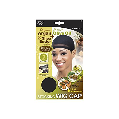 QFitt Organic Shea Butter & Olive Oil Treated Wig Cap In Sheer Black. 2pcs
