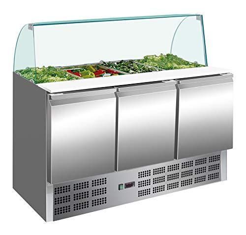 Saladette mit 3 Türen Pizzakühltisch Belegstation Salattheke Kühltheke Gewerbe Gastronomie