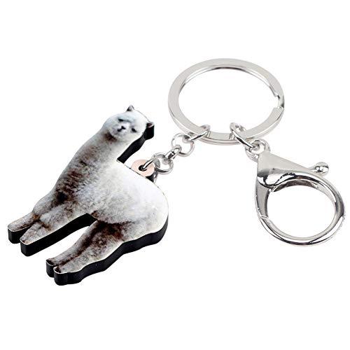 YASIKU llavero Acrílico Blanco Alpaca llavero llavero Titular Animal joyería para Mujeres Niñas Regalo Coche billetera colgante encantos