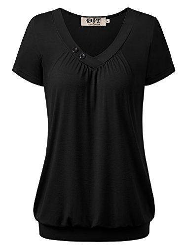 DJT DJT Damen Basic V-Ausschnitt Kurzarm T-Shirt Falten Tops mit Knopf Schwarz M