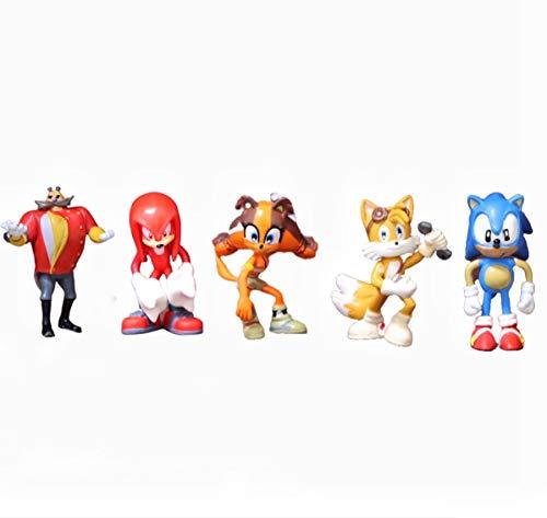LINJIA Juguetes Sonic 5 unids/Lote Sonic The Hedgehog Figuras de Juguete de acción colección de Aniversario figurita decoración de Pastel Regalo de cumpleaños