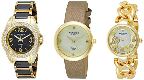 Akribos Women's 3 Watch Gift Set - Crystal and Ceramic Band, Link Chain Band and Classic Satin with Mother of Pearl Dial - AK766 (Yellow Gold)