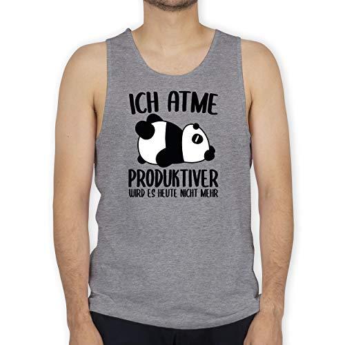 Shirtracer Sprüche - Ich atme produktiver Wird es Nicht mehr mit Panda - schwarz - XXL - Grau meliert - Produktiver Wird es Heute Nicht - BCTM072 - Tanktop Herren und Tank-Top Männer