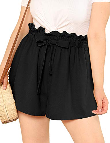 Romwe Women's Plus Size Casual Elastic Waist Loose Walking Shorts Black 3XL