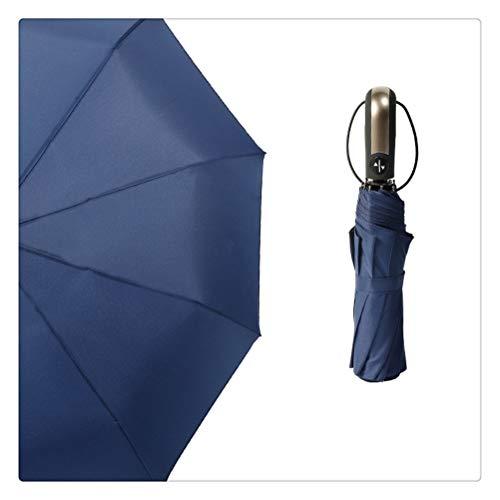 DFSDG Big Fuerte Moda Resistente al Viento Plegable Paraguas Automático Lluvia Mujeres para Hombres Portátiles Paraguas Grandes Parasol Masculino (Color : Blue)