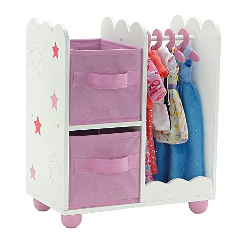 Emily Rose 14 Inch Doll Furniture | Pink Doll Armoire/Closet with Star Detail Comes with 5 Doll Clothes Hangers | Fits…