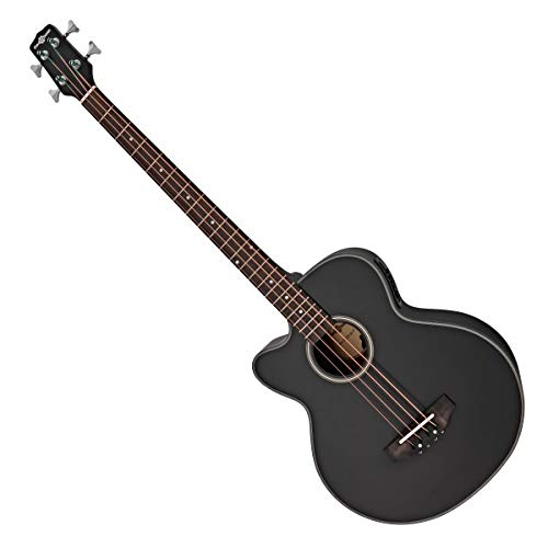 Electro Acoustic Left Handed Bass Guitar by Gear4music Black