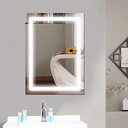 YIZHE Wandspiegel,Lichtspiegel,Schminkspiegel,Wandspiegel mit Touch-Schalter,kühles Weiß 6400K,Badezimmerspiegel,Lichtspiegel, LED Badspiegel, mit Touch-Schalter60*80cm