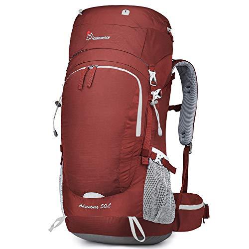 MOUNTAINTOP Rucksack mit Regenschutz, 50 l, 55 l, 60 l, 65 l, 50L-Red